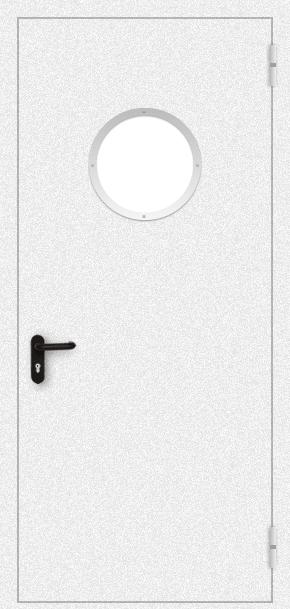 Однопольная противопожарная дверь c круглым стеклом (порошок / белая)