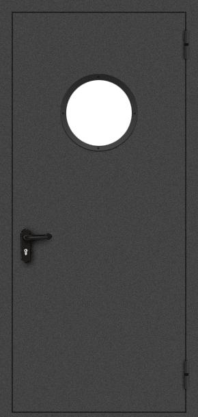 Однопольная противопожарная дверь c круглым стеклом (порошок / черная)