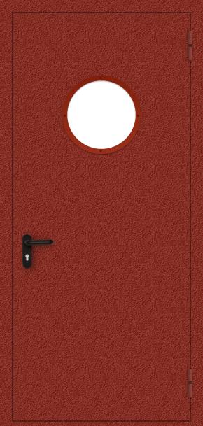 Однопольная противопожарная дверь c круглым стеклом (порошок / красная)
