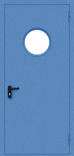 Однопольная противопожарная дверь c круглым стеклом (порошок / синяя)
