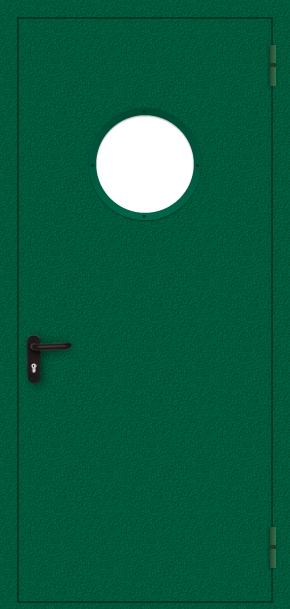 Однопольная противопожарная дверь c круглым стеклом (порошок / зеленая)