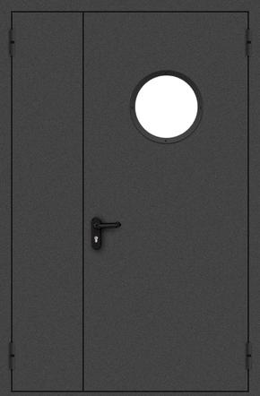 Полуторапольная противопожарная дверь с круглым стеклом (порошок / черная)