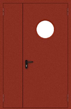 Полуторапольная противопожарная дверь с круглым стеклом (порошок / красная)