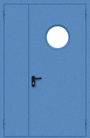 Полуторапольная противопожарная дверь с круглым стеклом (порошок / синяя)