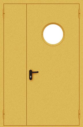 Полуторапольная противопожарная дверь с круглым стеклом (порошок / желтая)