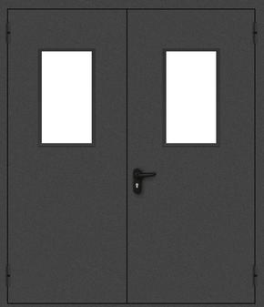 Двупольная противопожарная дверь со стеклом (порошок / черная)