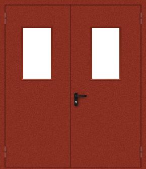 Двупольная противопожарная дверь со стеклом (порошок / красная)