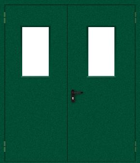 Двупольная противопожарная дверь со стеклом (порошок / зеленая)