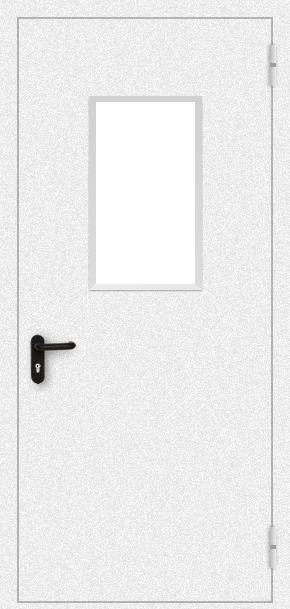 Однопольная противопожарная дверь cо стеклом (порошок / белая)