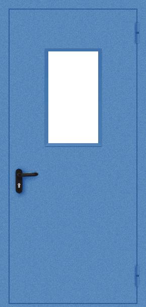 Однопольная противопожарная дверь EI 30 cо стеклом (порошок / синяя)