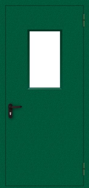 Однопольная противопожарная дверь cо стеклом (порошок / зеленая)