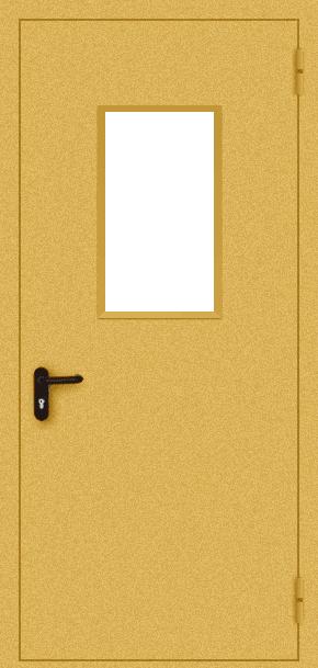 Однопольная противопожарная дверь EI 30 cо стеклом (порошок / желтая)