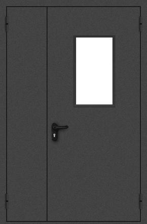 Полуторапольная противопожарная дверь со стеклом (порошок / черная)