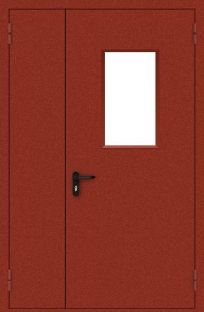 Полуторапольная противопожарная дверь со стеклом (порошок / красная)