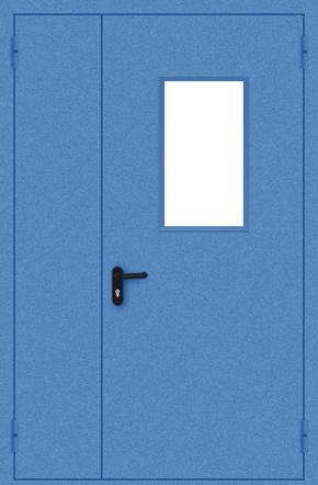 Полуторапольная противопожарная дверь со стеклом (порошок / синяя)