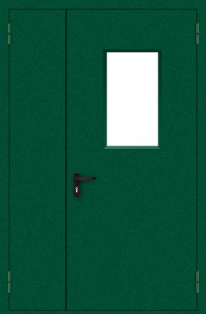 Полуторапольная противопожарная дверь со стеклом (порошок / зеленая)