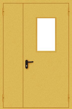 Полуторапольная противопожарная дверь EI 30 со стеклом (порошок / желтая)